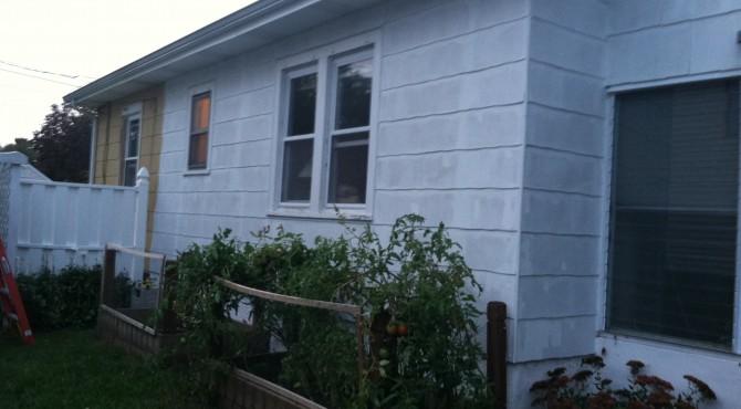Primered side of house