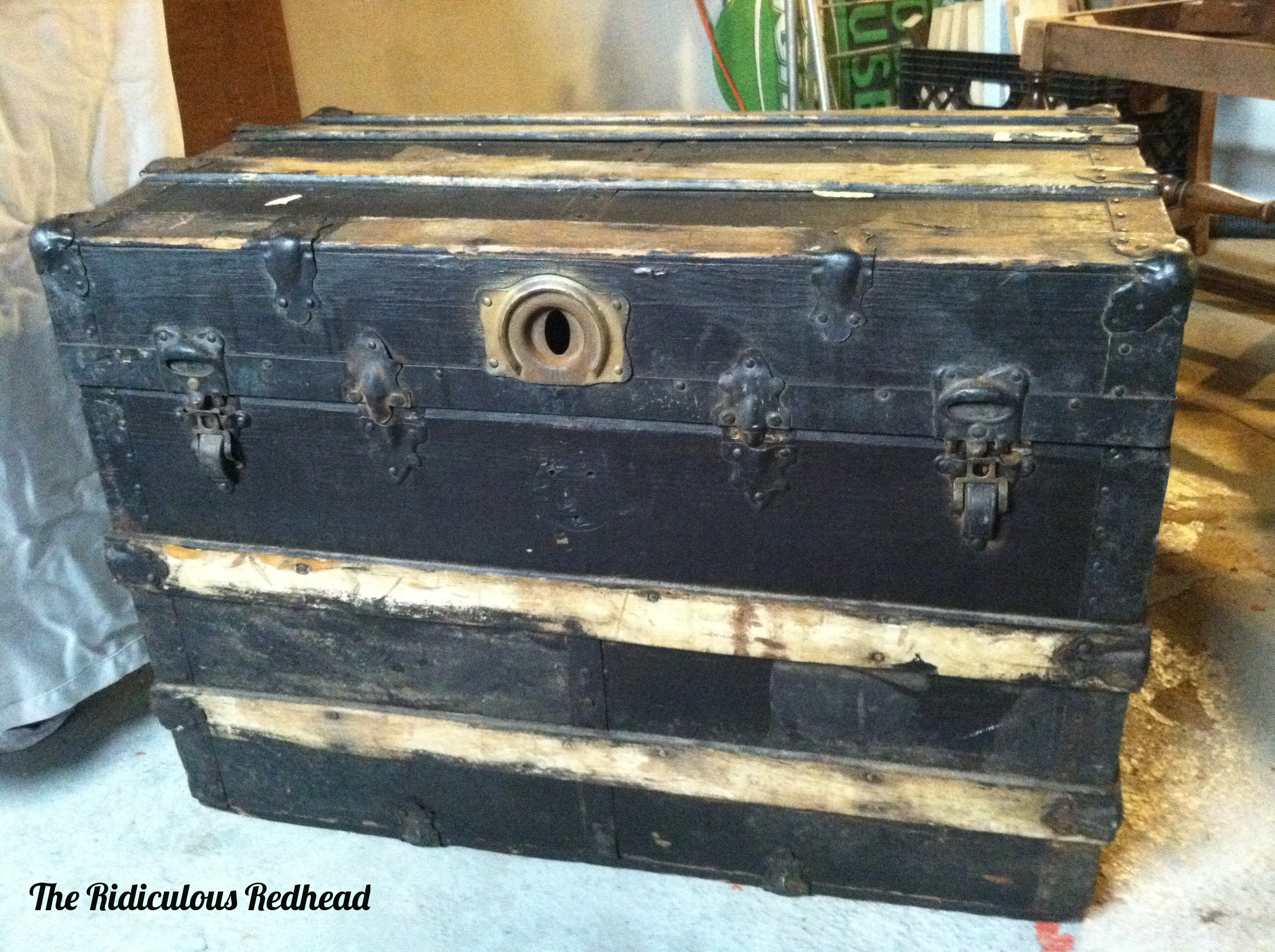 An Old Wood Steamer Trunk The