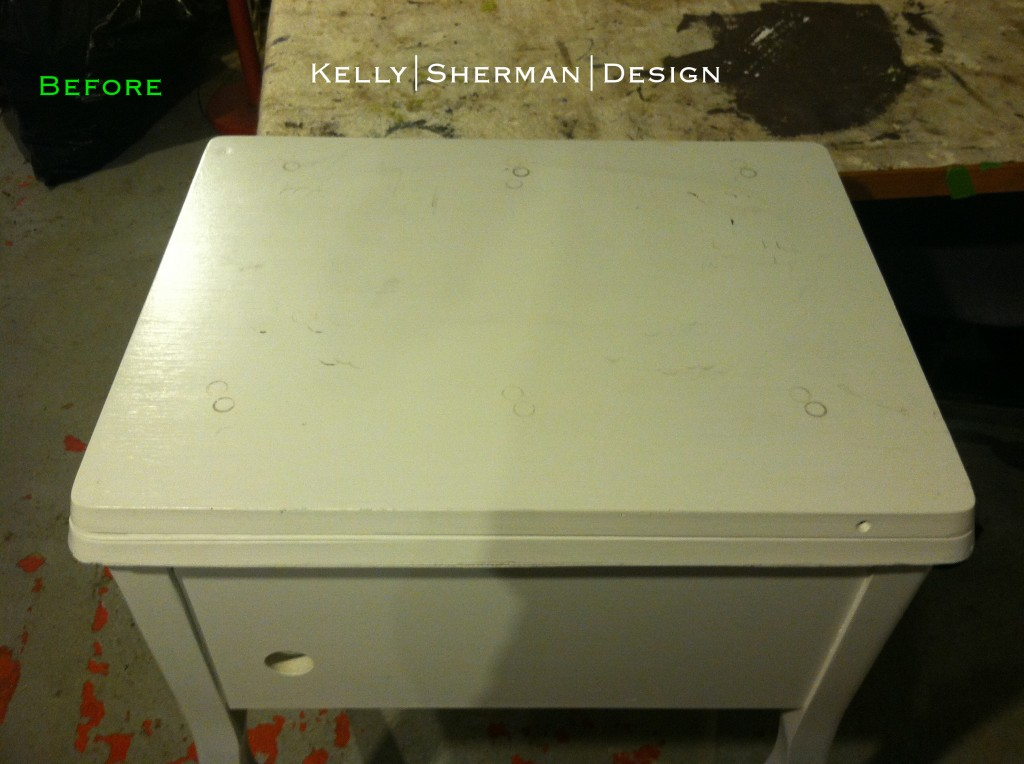 KSD sewing machine desk before