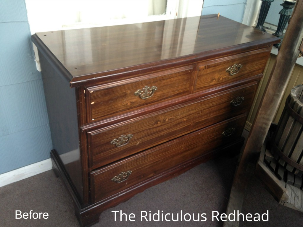 Ridiculous Redhead Pineapple Dresser Before