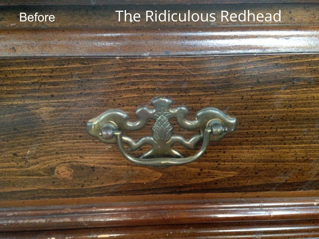 Ridiculous Redhead Pineapple Dresser Hardware Before