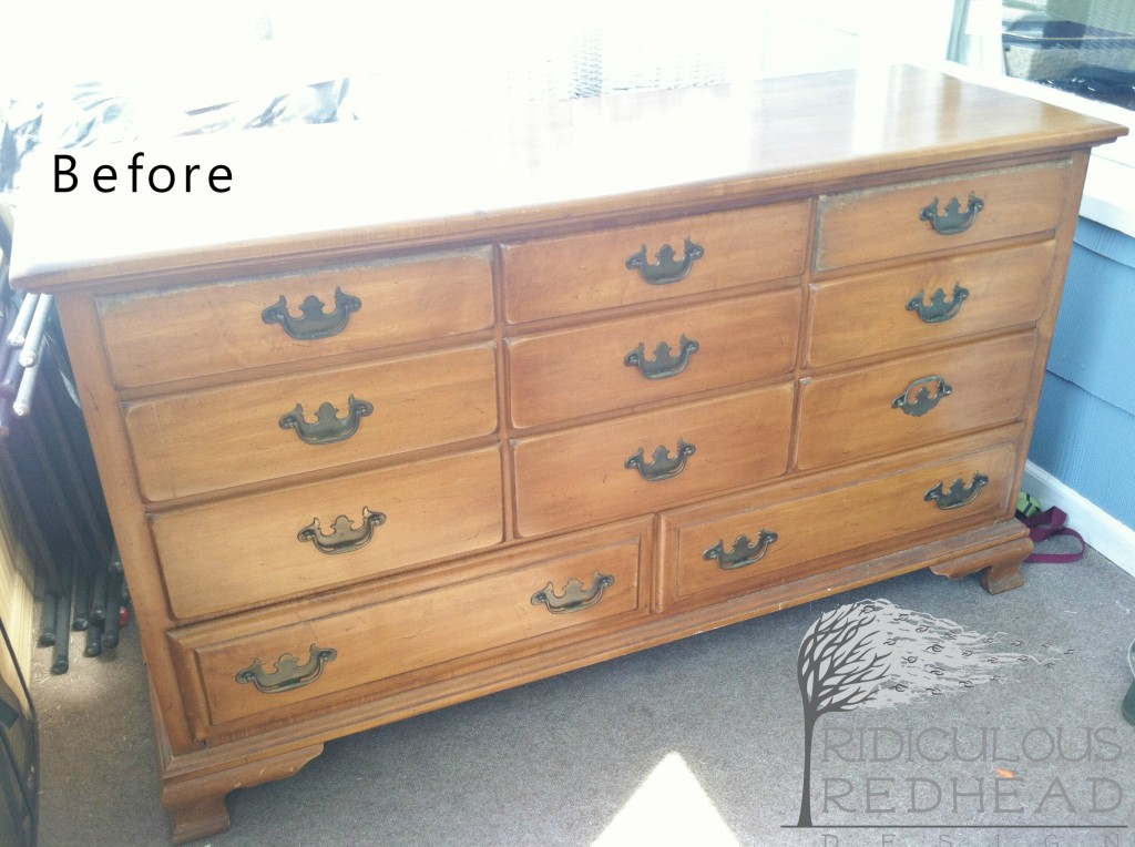 Lemon dresser makeover ridiculous redhead before