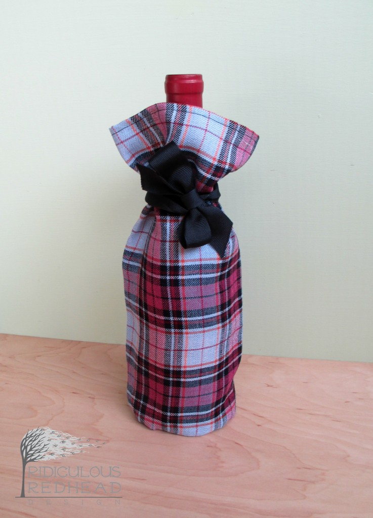 wine gift bag pink plaid ridiculous redhead