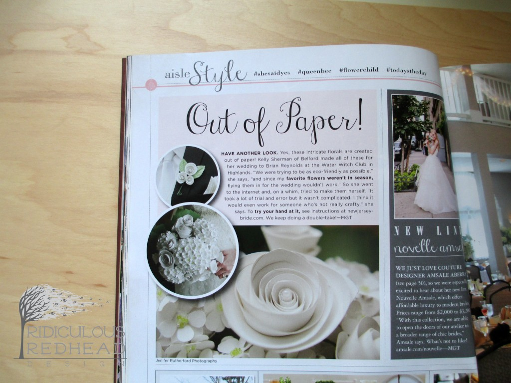 NJ Bride Paper Flowers article Ridiculous Redhead
