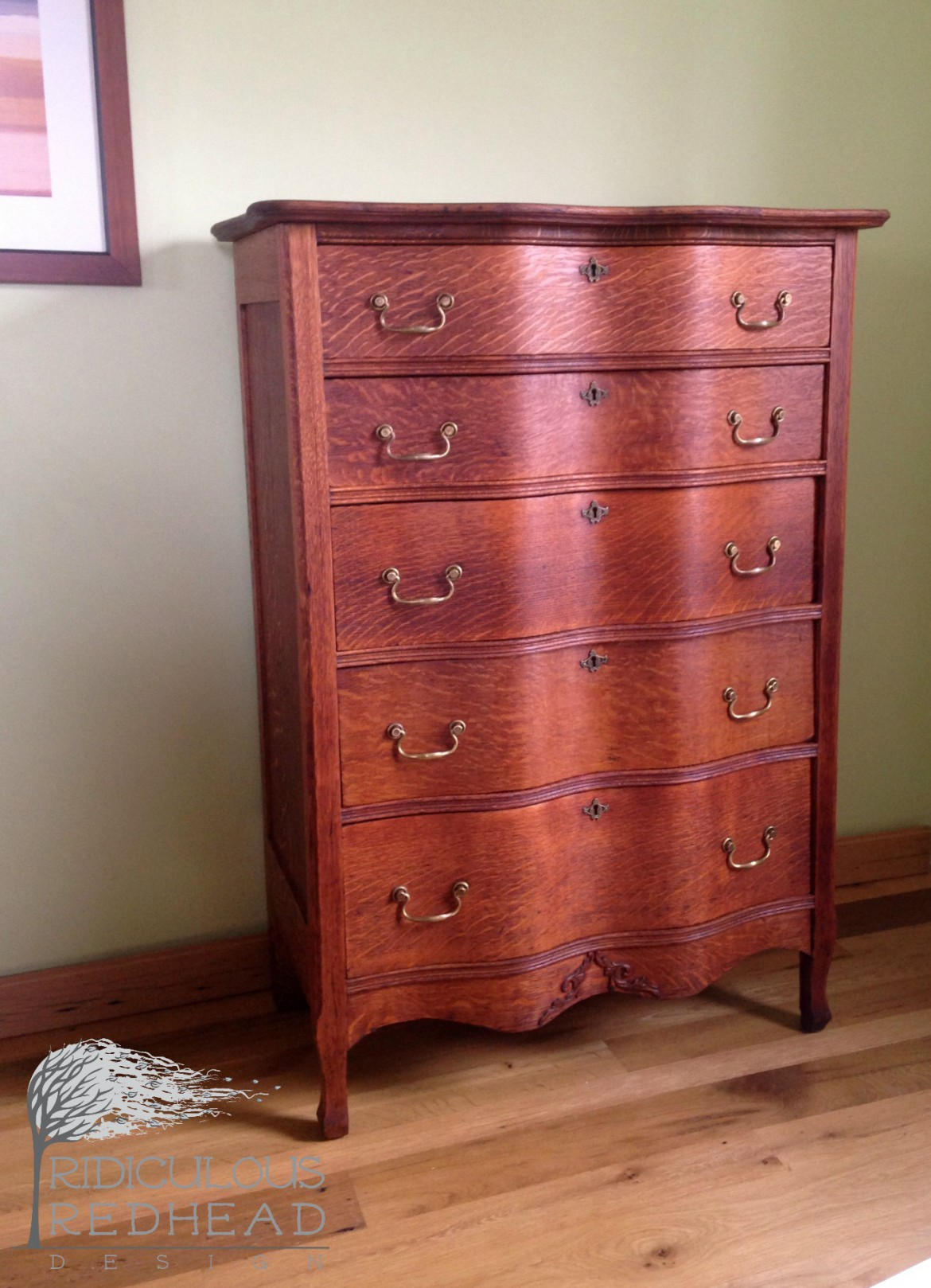 Ridiculous Redhead Wavy Oak Dresser After