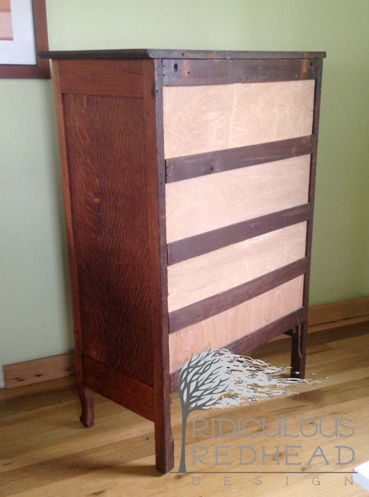 Ridiculous Redhead Wavy Oak Dresser After back